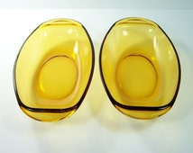 2 Hors-d'oeuvres dishes yellow glass Vereco vintage  Made in France