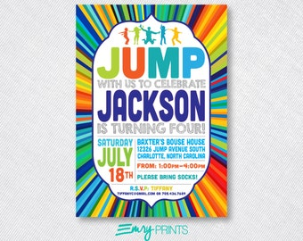 Jump Invitation / Jump Birthday Invitation / Jump Party / Bounce Birthday Invitation / Bounce Birthday