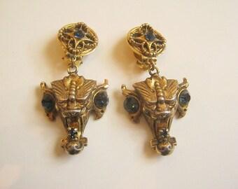 Amazing Vintage Gold plated Demon Devil Clip earrings