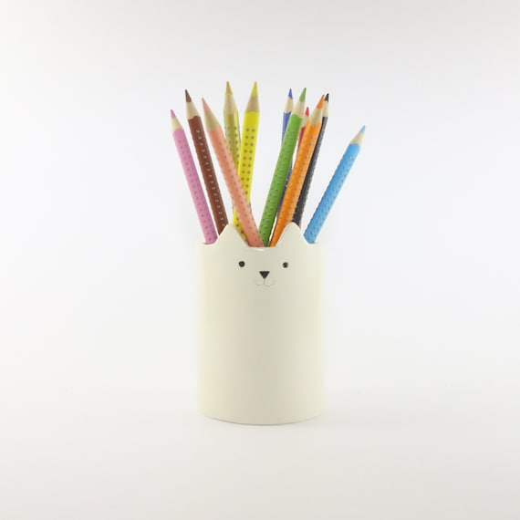 Cat Pencil Holder Pen Pot White Ceramics Desk Organiser