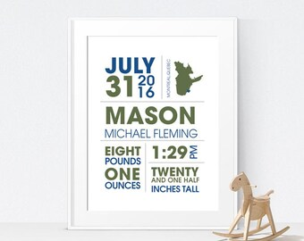 Baby Gift - Birth Announcement Wall Art - Nursery Decor - Nursery Wall Art - New Baby Keepsake - Personalized Baby Gift - Birth Stats Print