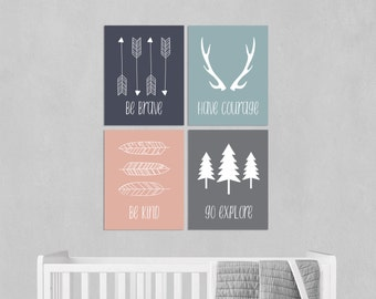 Woodland Nursery - Girls Room Decor - Tribal Nursery - Arrow Decor - Inspirational Nursery Art - Woodland Nursery Print - Childrens Art