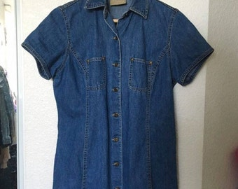 90s Vintage Denim Button Up Dress