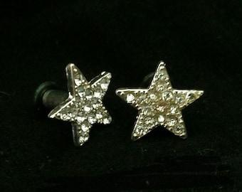 Rhinestone Star tunnels - large gauge earrings