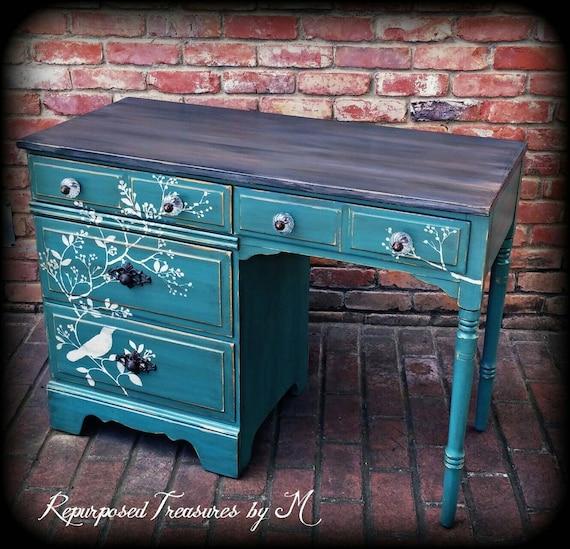 Sold Sold Vintage Desk Stenciled Desk Distressed Desk