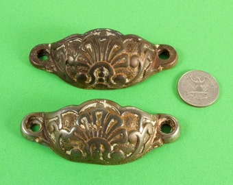 Metal alloy drawer pulls - French Vintage - drawer handles - door handles - Pair - Set of two