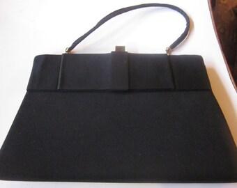 Vintage Black Purse with Big Black Bow