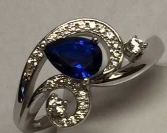Beautiful 2ct Blue Sapphire, White Sapphire 925 Solid Sterling Silver Solitaire CZ Ring sz 9