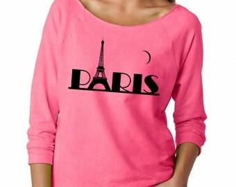 Paris Eiffel Tower French Terry Stylish Raw Edge Off Shoulder Women Top France Terry Sweatshirt