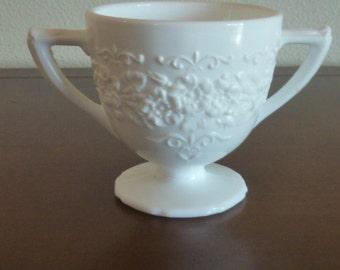 Vintage Milk Glass Pedestal bowl Two Handles Spanish Lace Pattern Sugar Bowl Flower Vase Cottage Shabby Chic Wedding Event Decor Mid Century