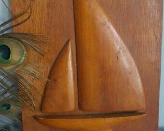 Retro Handmade Sailboat Art