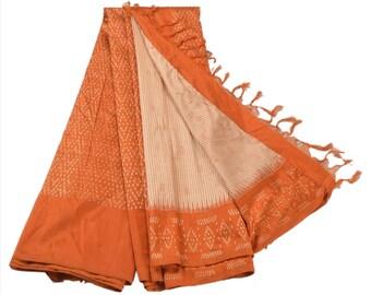 KK Pure Silk Sari Cream Orange Saree With Floral Woven Work
