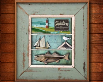 Coastal art, wood, paint,Wooden Fish,Handmade,Home Decor