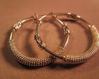 Cool Textured Sterling Silver Hoop Earrings