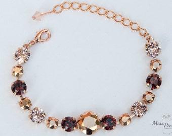Rose Gold & Burgundy Bracelet