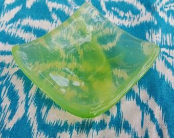 Green dish 2 // fused glass