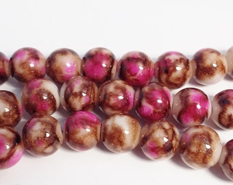 60pcs Pink Brown Glass Beads 8mm - B53912
