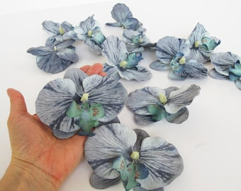 """Lot of 24 Artificial Orchids Silk Flowers Grey White Orchids Measuring 4.3"""" Floral DIY Wedding Hair Accessories Flower Supplies Faux"""