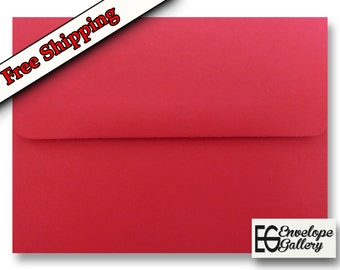 """Festive Red A7 Envelopes for 5"""" x 7"""" Invitations Cards Announcements Weddings Photos Shower Communion Astrobrights Re-Entry Red"""