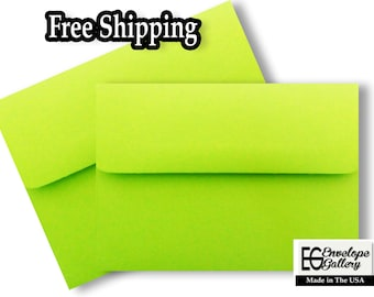 """Lime Green A6 Envelopes for 4 1/2"""" x 6 1/4"""" Invitations Cards Announcements Weddings Photo Gift Shower Communions"""