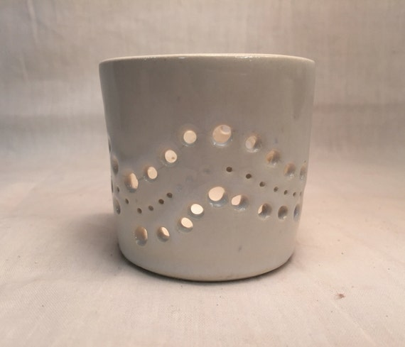 Handemade ceramic candle holder- tea light holder - white - halfprice!