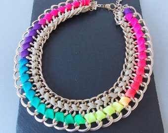 Chunky Multi-Coloured Woven Chain Statement Necklace