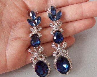 Midnight Blue and Silver Crystal Statement Prom Bridal Wedding Earrings