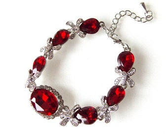 Red and Crystal Jewelled Bridal prom Pageant Bracelet