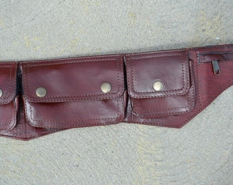 Burgundy leather utility belt with 4 pockets