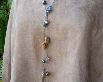 Lariat Necklace w Mixed Stones & Leather