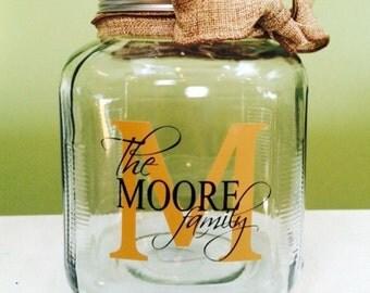 Personalized glass jar-gallon size with burlap ribbon