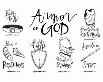 """Armor of God illustration 5x7"""" download"""