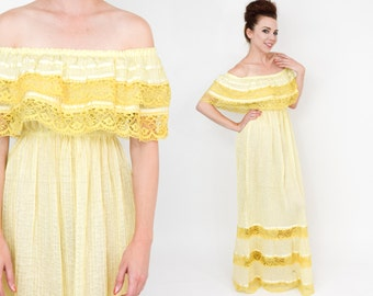70s Yellow Peasant Dress | Peasant Maxi Dress | Long Yellow Mexican Dress | Mario de ls Pena | Medium-Large