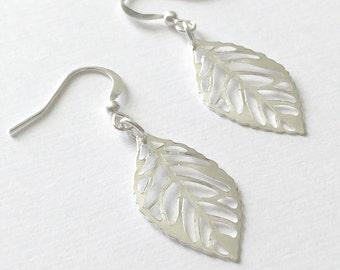 Silver Leaf Earrings/Silver Plated Leaf Earrings/Large Leaf Earrings/Large Silver Leaf Earrings/Fall Leaf Earrings