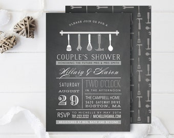 Chalkboard Typography Bridal Wedding Couples Shower Invitation - His and hers  - Printable Custom DIY digital