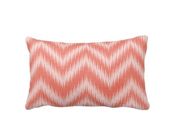 """Ikat Flame Stitch Chevron Lumbar Throw Pillow Cover, Coral Print 13 x 21"""" Pillows or Covers, Bright Orange/Pink/Salmon"""