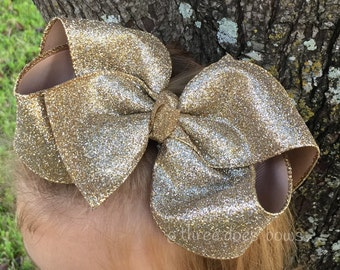 "X Large 6""+ Gold Hair Bows - Gold Bow - Glitter Bow - Large Gold Glitter Bow - XL Gold Glitter Hair Bows - Big Gold Hair Bow - Large Gold B"