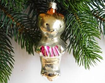 Teddy - bear with accordion Christmas Glass Ornament