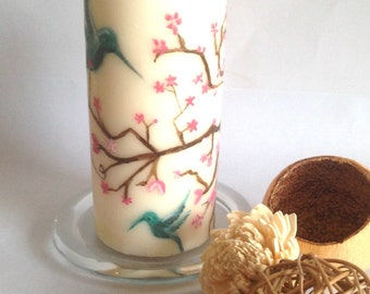 Hand painted candle, cherry blossom motif candle, oriental pillar candle, hummingbird gift, cherry blossom gift, gift for friend
