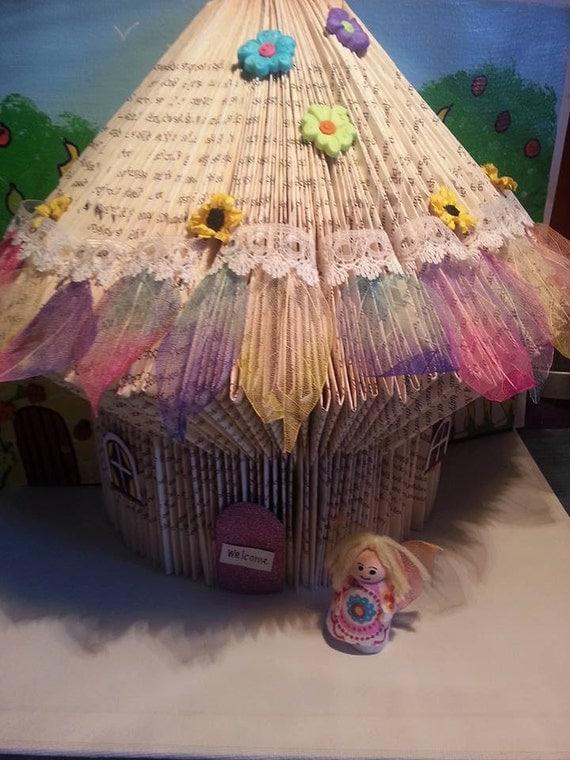 Unique book sculpture rainbow fairy house fairy door with for Rainbow fairy door