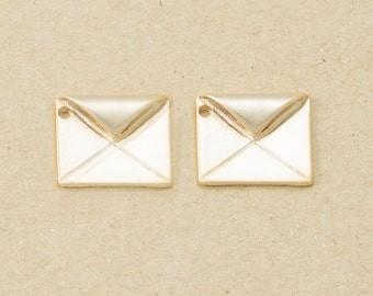 Envelope Pendant, Jewelry Craft Supplies, Brass Pendant, Handmade Jewelry, Matte Gold Plated over Brass - 4 Pieces-[BP0053]-MG