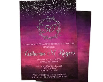 50th Birthday Invitation - Woman - Purple Adult Birthday Invitations - 60th 70th 80th 90th Stars - Surprise Woman Birthday - Silver Pink