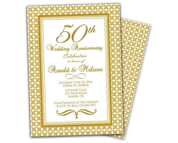 Fiftieth Wedding Anniversary Invitations: 50th Wedding Anniversary Invitation Anniversary Party