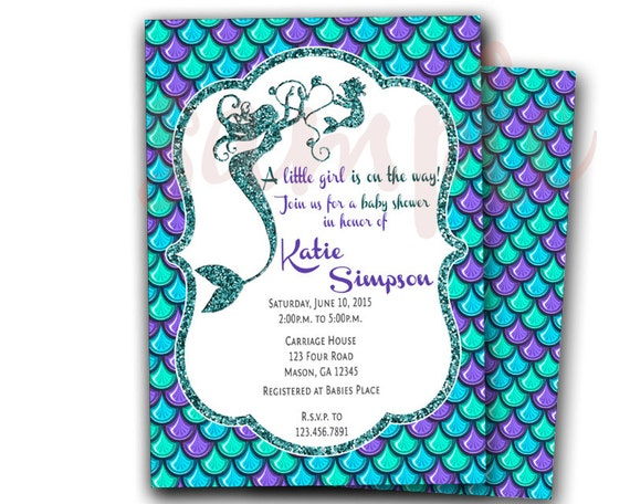 mermaid baby shower invitation  mermaid invitations  under the, Baby shower