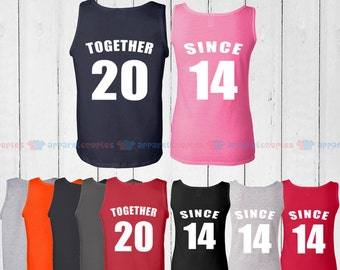 TOGETHER SINCE 2014  - Matching Couple Tank Top - His and Her Tank Tops - Love Tank Tops