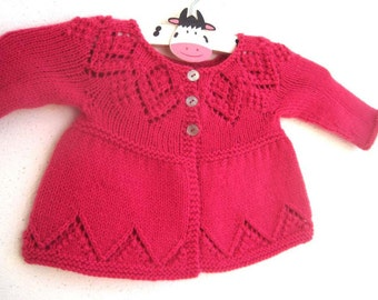 Isabelle Cardi - Knitting Pattern - Baby girl to age 6 cardigan - Instant Download PDF