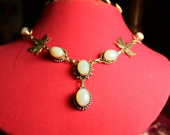 925 Sterling Silver Glamorous Genuine Opalite Women Rushed Necklace 19