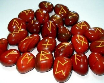 JASPER Runes Set for reiki healing, complete with pouch wicca pagan spirituality rune stones tumbled stones