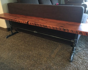 Reclaimed wood  black pipe bench. Industrial Bench. Wood and steel bench. Rustic bench. Black iron pipe bench. Reclaimed wood bench.