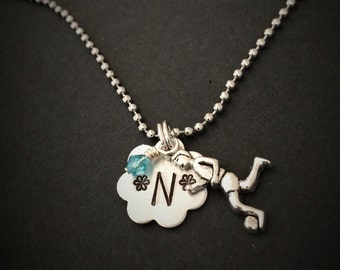 Hand Stamped Soccer Necklace, Soccer Personalized Necklace, Soccer Jewelry